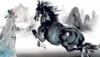 """Acuarela china de un hombre y un caballo que ilustra el cuento sufí """"mala suerte, buena suerte... ¿quién sabe?"""""""