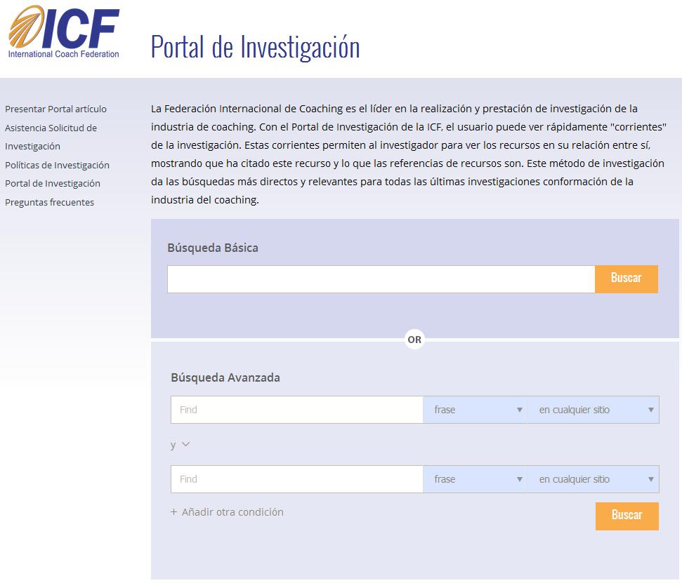 Imagel del portal de investigación de ICF la International Coach Federation