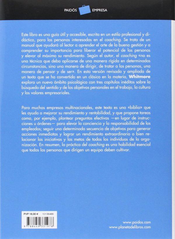 Contraportada del libro de John Whitemore: Coaching: El método para mejorar el rendimiento de las personas.