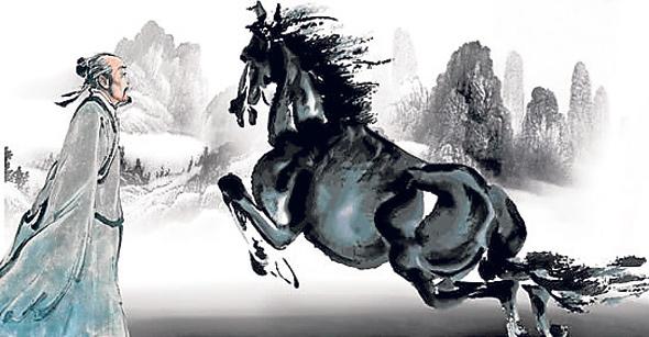 """Acuarela china de un hombre y un caballo que ilustra el cuento sufí """"buena suerte, mala suerte... ¿quién sabe?"""""""