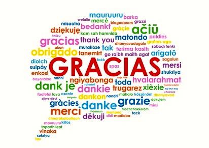representación de la gratitud como una nube de palabras de gracias